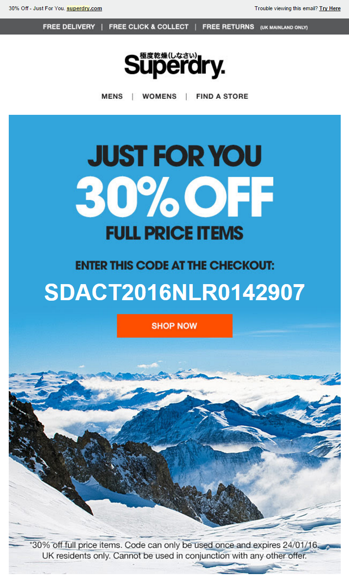 superdry email with 30 discount coupon code emailmarketing coupon