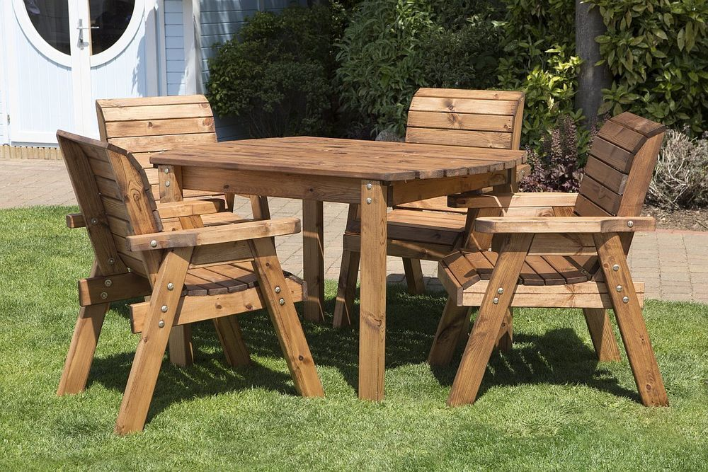 HGG Wooden Garden Table And 4 Chairs Dining Set / Outdoor Patio Wood Furniture | Wooden Garden Furniture, Wooden Garden Table, Garden Furniture Sets
