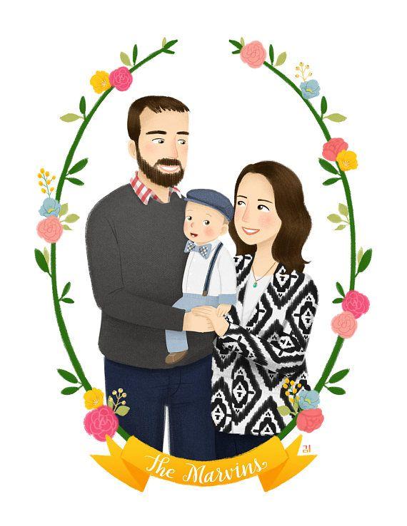 Custom Family Portrait Illustration for Prem | Etsy