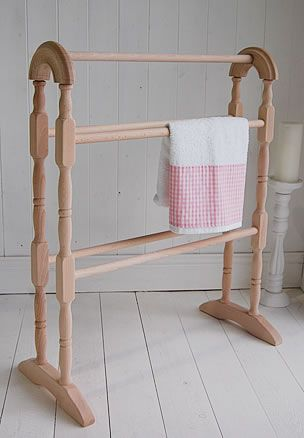 £43  Wooden towel Stand - White Cottage Living