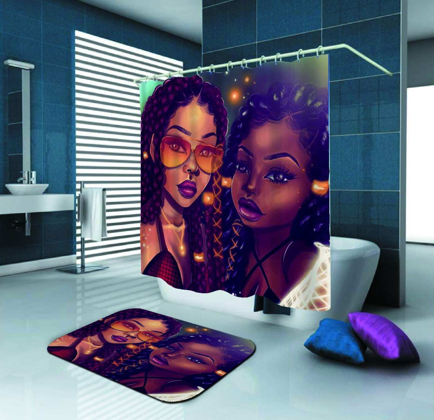 27 99 African American Mom Daughter Afrocentric Shower Curtain Girl Bathroom Decor Girls Shower Curtain African Shower Curtain