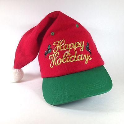 Snapback Santa Clause Hat Baseball Cap HAPPY HOLIDAYS Ugly Floppy Christmas  Elf  46389b975e9