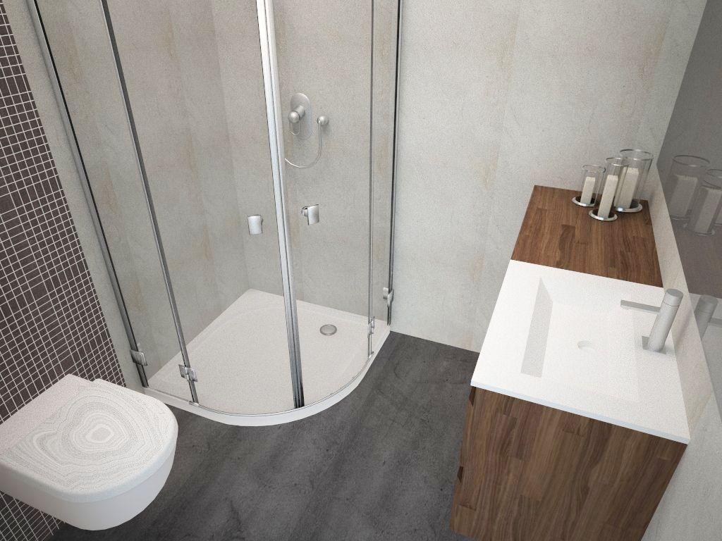 Projekt Typowej Małej łazienki W Bloku Narożny Prysznic