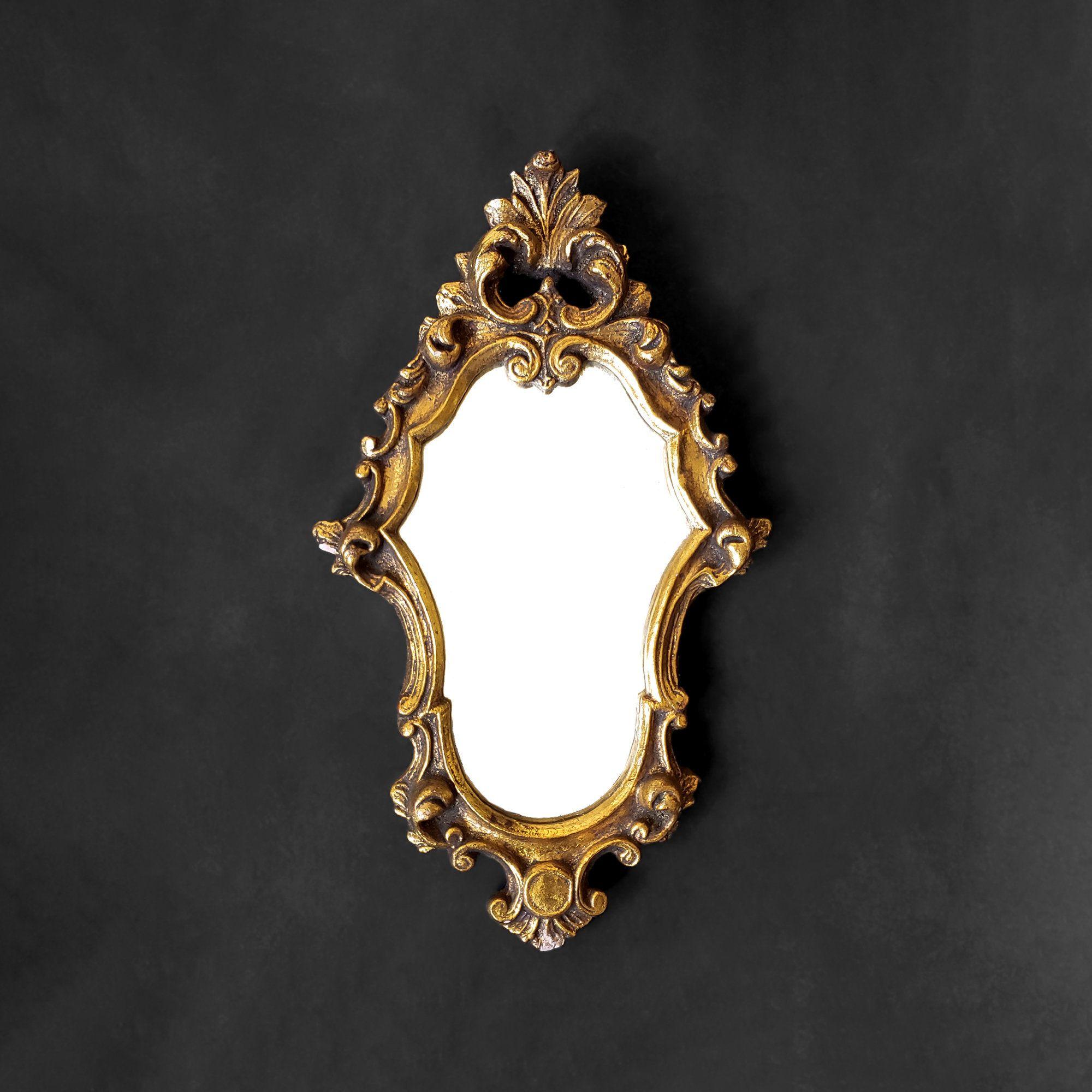 Small Gold Accent Mirror Ornate Distressed Italian Mirror