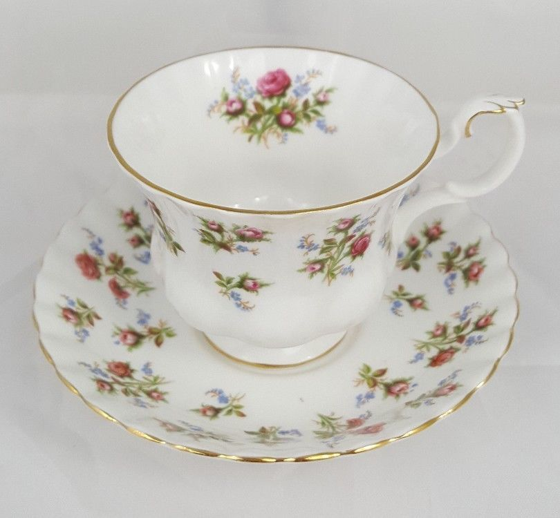 Royal Albert Winsome England Bone China Tea Cup And Saucer Pink Floral
