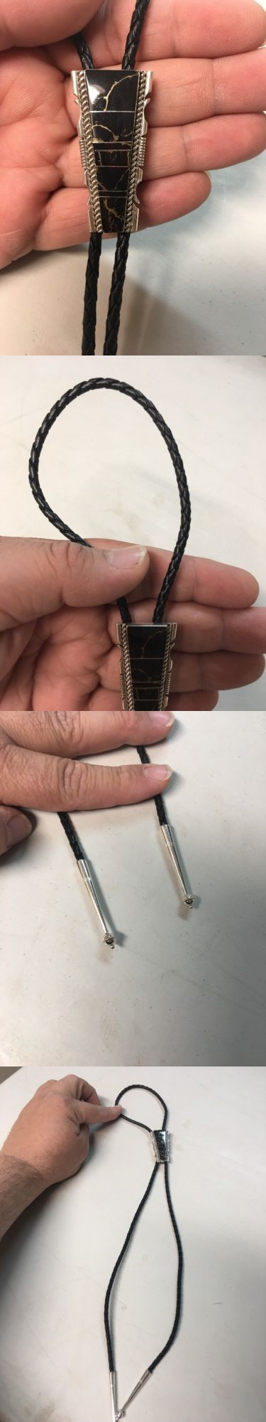 Bolo Ties 10292: Native American Indian Navajo Bolo Tie Black Onyx Pyrite Inlay Ties Stunning # 5 BUY IT NOW ONLY: $89.97