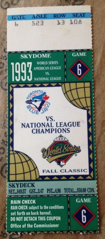 1993 World Series TICKET STUB Toronto BLUE JAYS Game 6 CHAMPION Joe CARTER HR nr