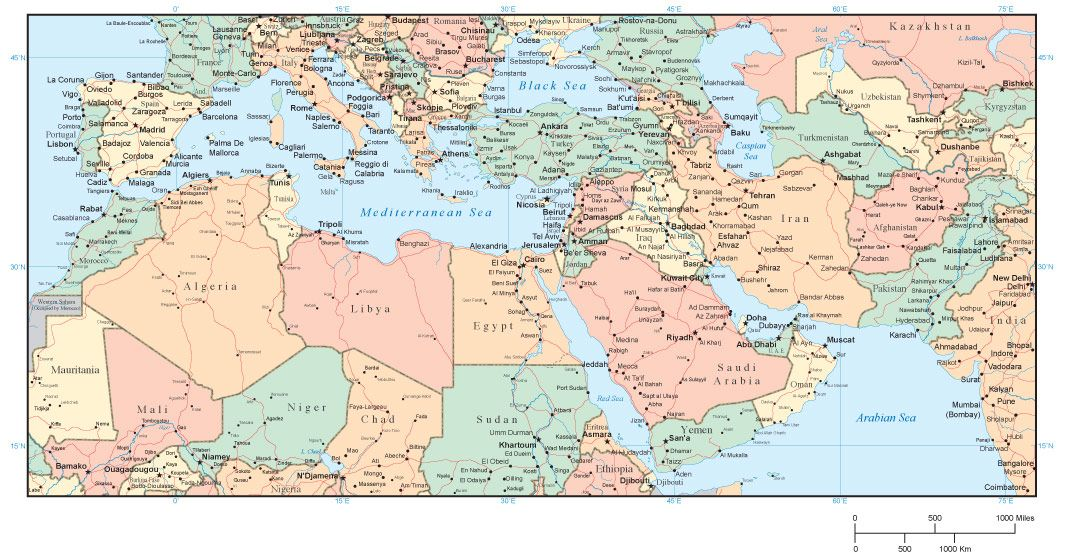 Middle East and North Africa Map