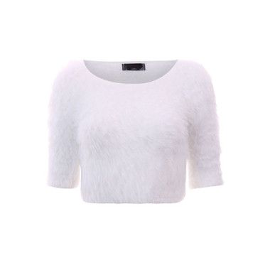 16a78afde0f Fluffy Knit Crop Top White | Tops | Crop tops, Tops, Fashion