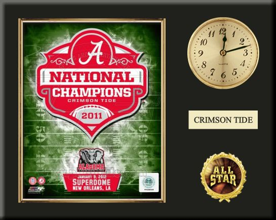 """One 8 x 10 inch University of Alabama photo of University Of Alabama Crimson inserted in a gold slide-in frame and mounted on a 12 x 15 inch solid black finish plaque.  Also features a 3-inch Arabian gold-faced clock, a customizable nameplate* and a 2-inch """"ALL STAR"""" insert with a gold base.  $59.99  @ ArtandMore.com"""