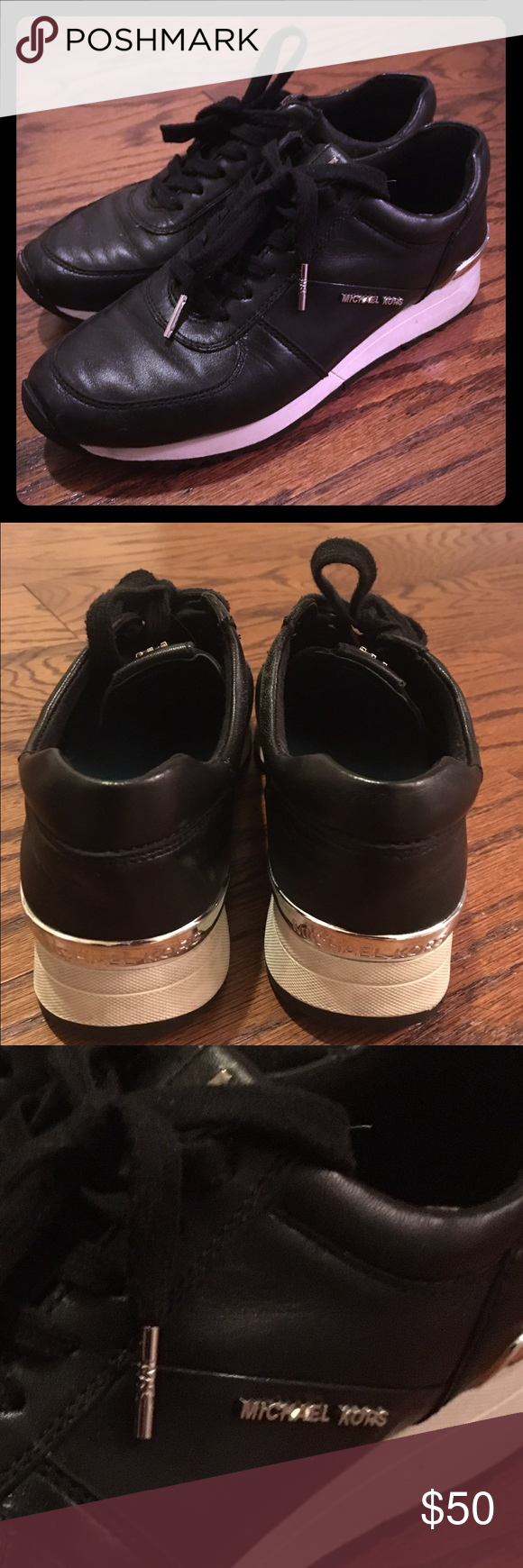 Michael Kors black sneakers Super cute gently used Michael Kors black leather sneaker Michael Kors Shoes Athletic Shoes