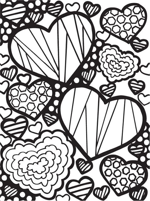 Abstract doodles free valentine images to color diy for Abstract heart coloring pages