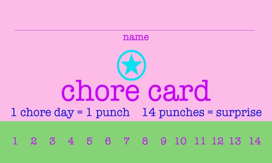Punch Card Template Free Downloads Beautiful Free Printable Chore Punch Cards In 2020 Punch Cards Card Templates Free Printable Playing Cards