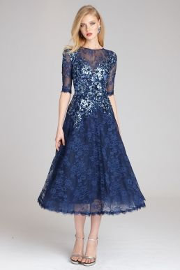 089d4e06b97c Teri Jon by Rickie Freeman Floral Lace Dress with Sequin Appliques ...