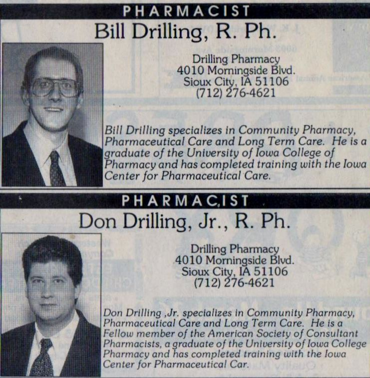Bill And Don Drilling Featured In The Sioux City Journal Sioux City City Journal Pharmacist