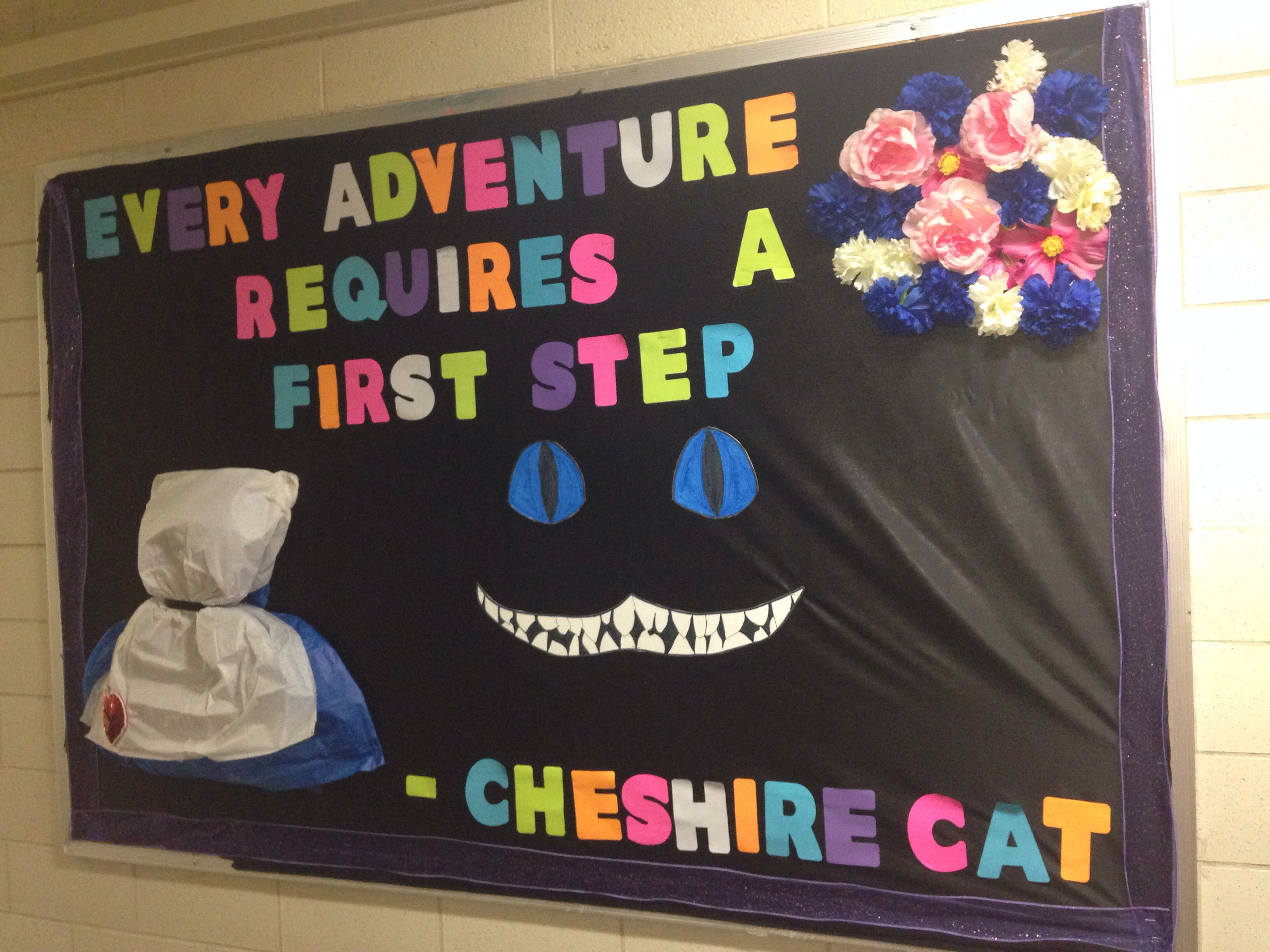 My very first RA board! Alice in Wonderland themed! :) kinda proud!