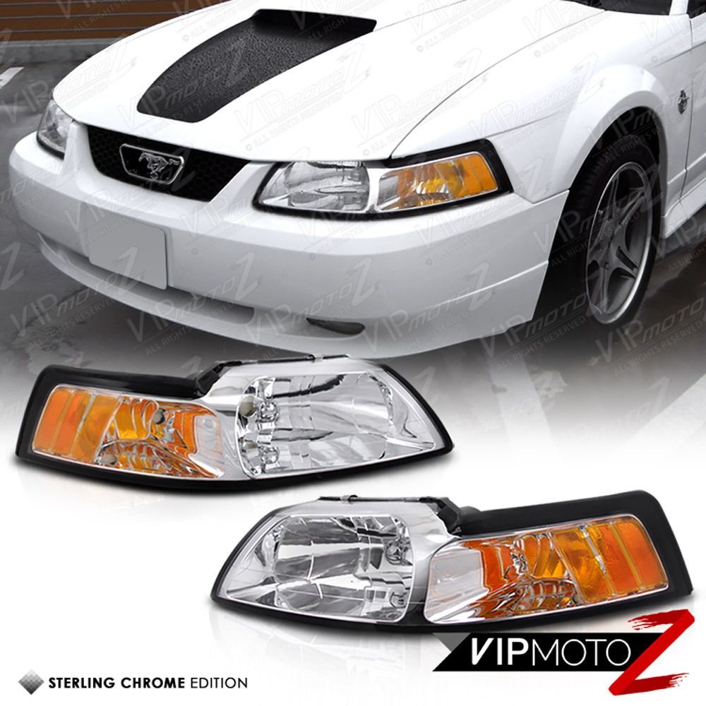 Ford Mustang 99 04 Gt V8 Crystal Clear Headlight Signal Lamp W Amber Left Right Ford Mustang Ford Mustang