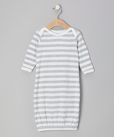 Take a look at this Gray & White Stripe Organic Gown by Max + Ella on #zulily today!