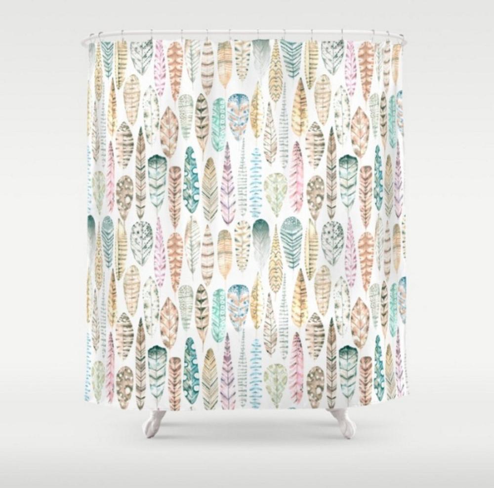 Boho Shower Curtain Tribal Bath Curtain Feathers Curtain