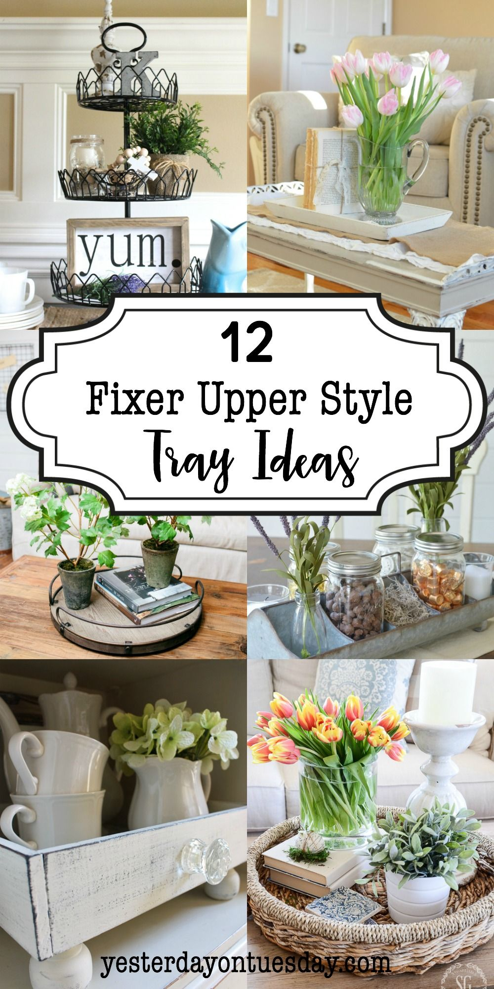 12 fixer upper style tray ideas lovely ways to add a modern farmhouse look to any room fixer. Black Bedroom Furniture Sets. Home Design Ideas