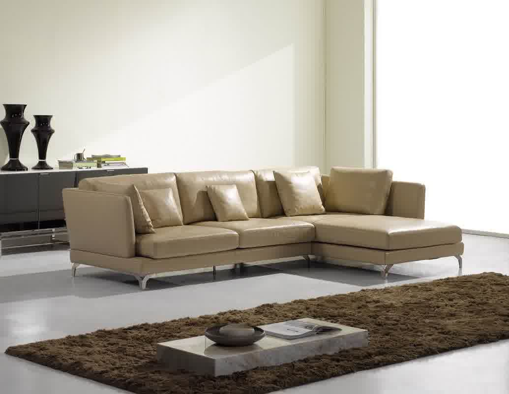 Small cream leather sofas for cozy and elegant small living space ...