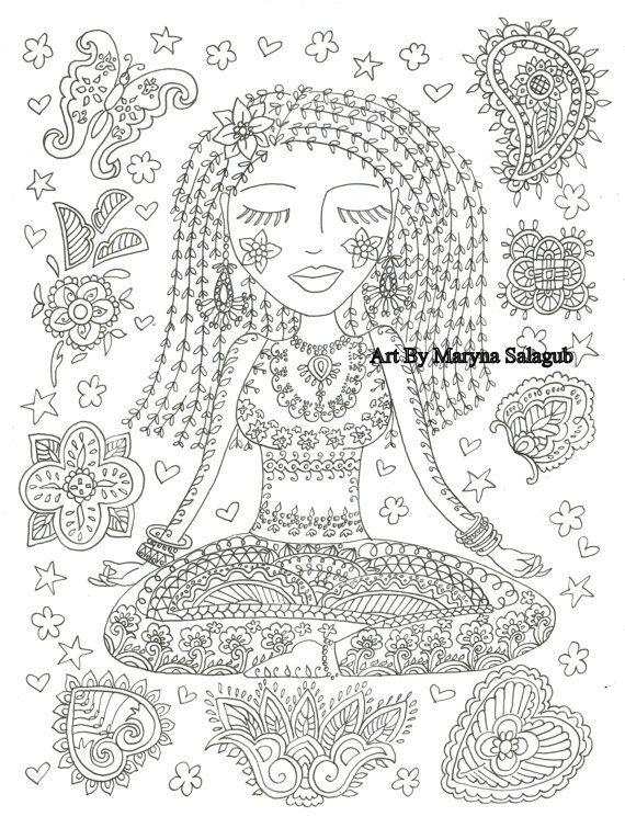 coloring page yoga girl instant download adult clip art digital file meditation doodle printable zentangle zendoodle