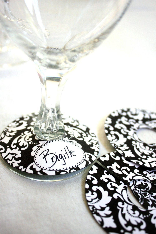 Printable Paper Bold Damask Wine Glass Slipper Name Card Tag ...