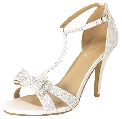 f85adba72dbb These gorgeous high heel rhinestone pumps will give your look an added  elegance with a rhinestone studded bow and a t-strap design.