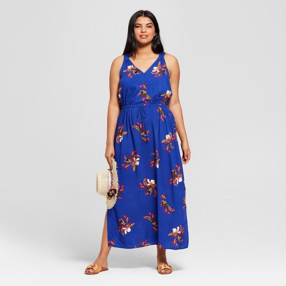 Women S Plus Size Floral Print Maxi Dress A New Day Indigo 4x Blue Floral Print Maxi Dress Floral Print Maxi Maxi Dress [ 1000 x 1000 Pixel ]