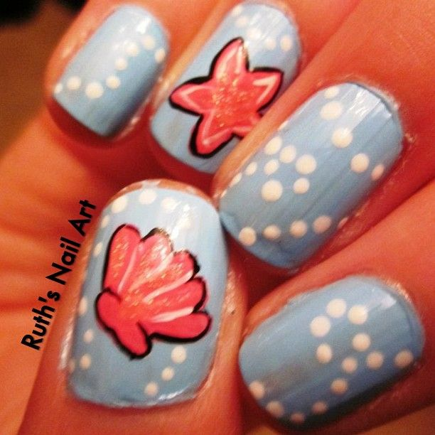 Starfish And Scallop Shell On Blue Base Nail Art Design