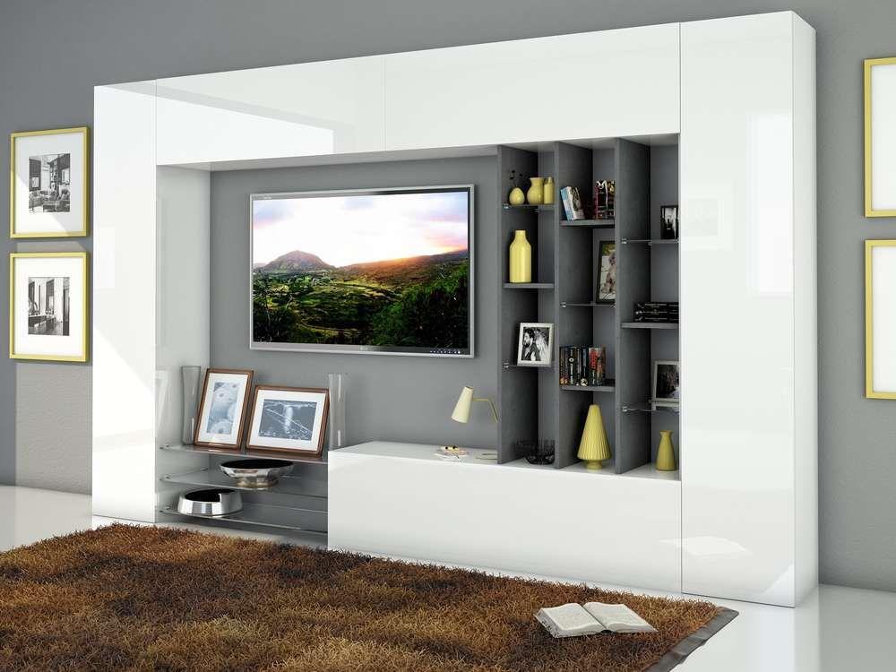 Soggiorno moderno Torino, porta tv bianco, composizione parete ...
