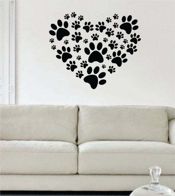 Dog Paw Print Heart Design Decal Sticker Wall Vinyl Decor Art ...