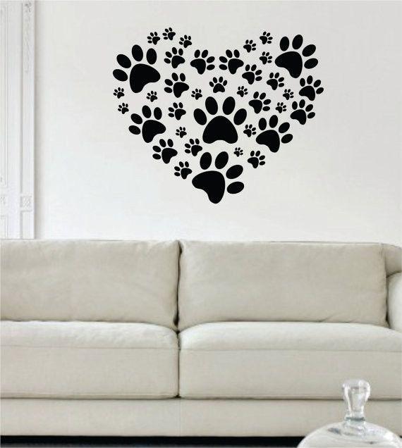 Wall Vinyl Art dog paw print heart design decal sticker wall vinyl decor art