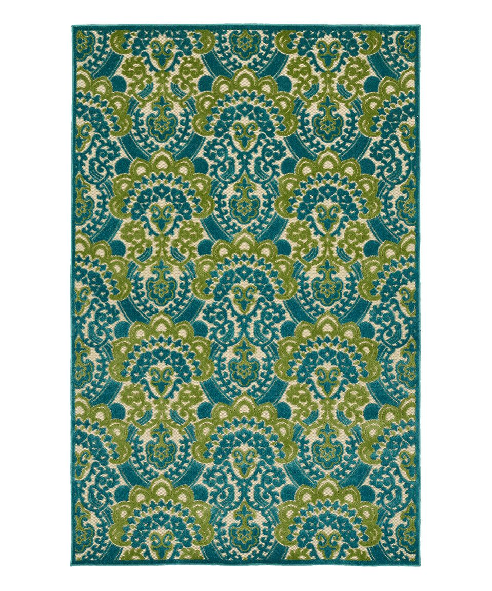 Look at this #zulilyfind! Kaleen Blue & Green Damask Five Seasons Indoor/Outdoor Rug by Kaleen #zulilyfinds