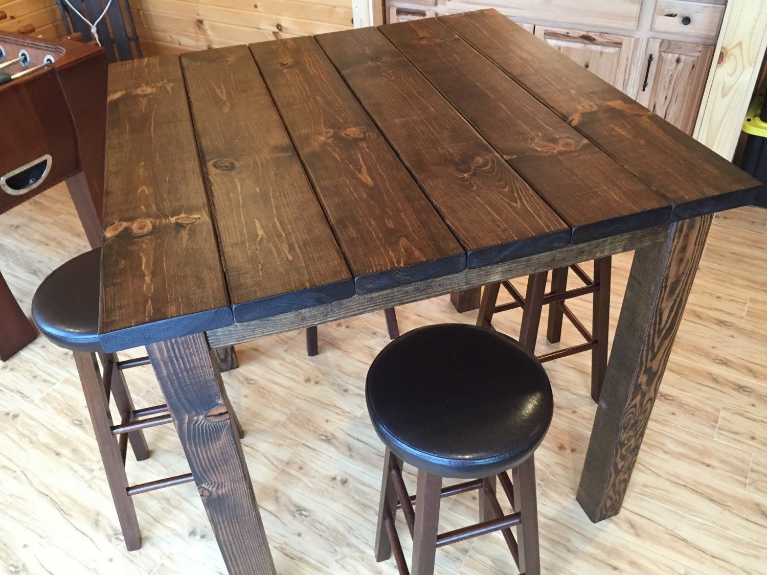 36 square rustic reclaimed wood bar table bar height table high top table family room. Black Bedroom Furniture Sets. Home Design Ideas