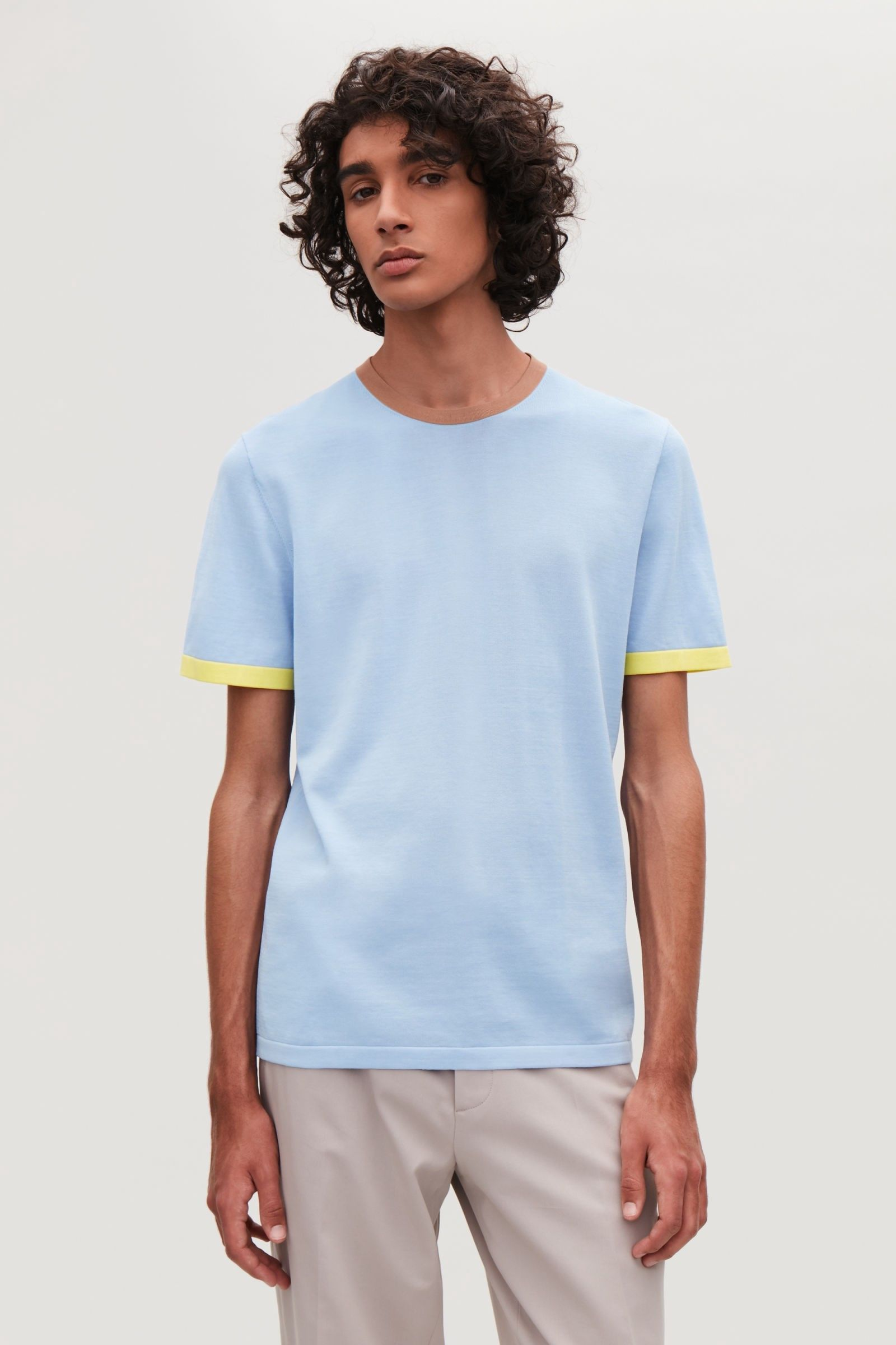 Cos Knitted Colour-Block T-Shirt - Light Blue XL  0e06e5a7bd7