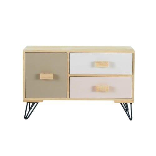 Blush   Pequeño Mueble De 3 Cajones Tricolor