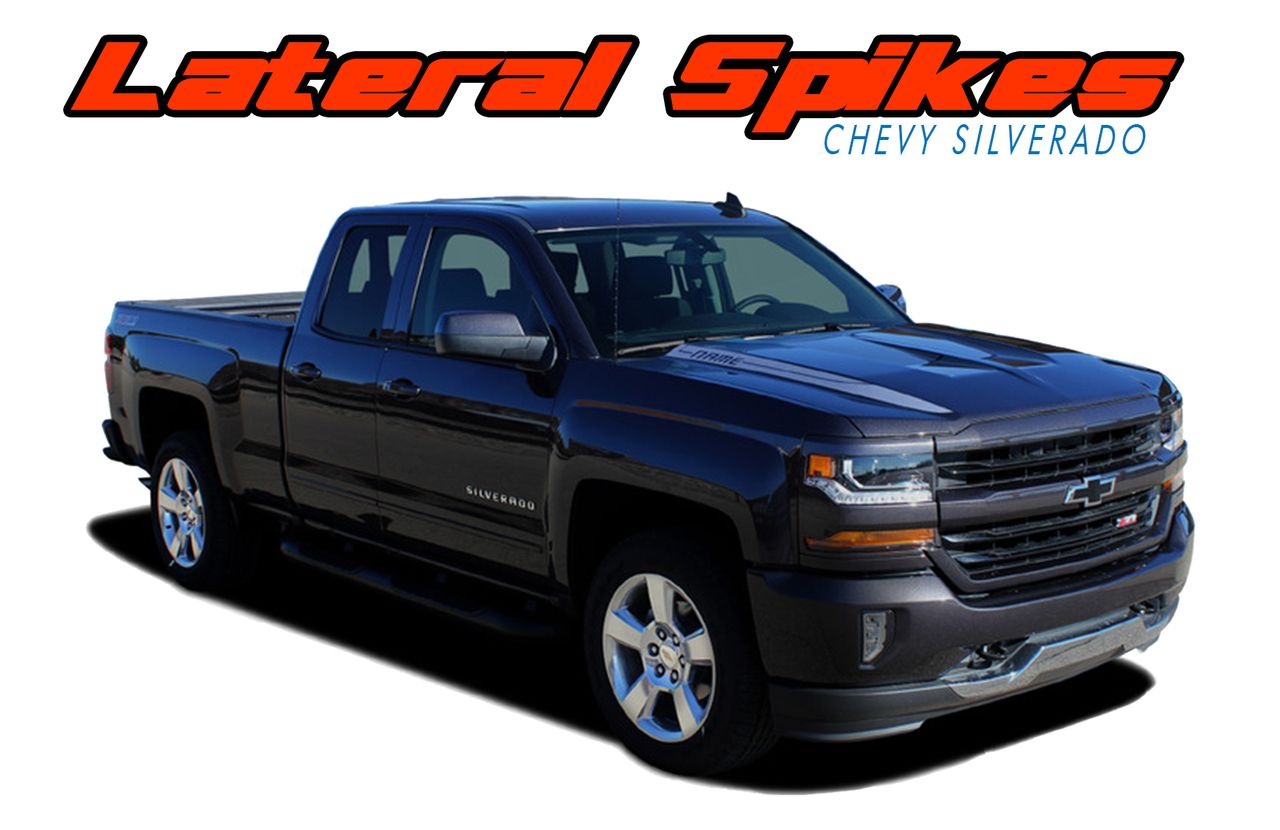 Chevy Silverado LATERAL SPIKES Double Hood Spear - Chevy decals for trucksmore decalchevrolet silverado rally edition unveiled