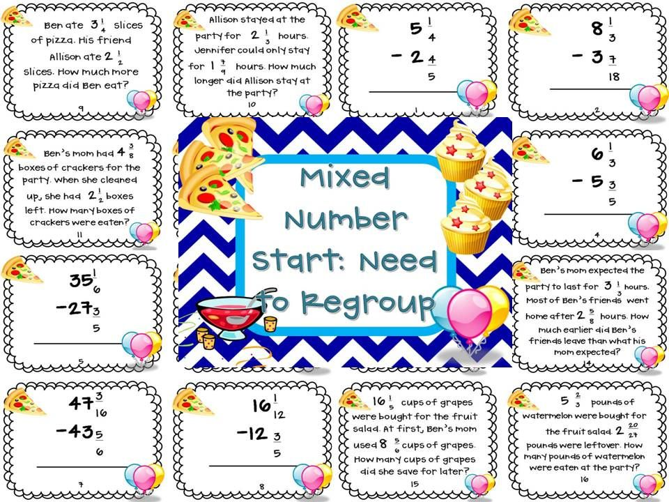 Subtracting Mixed Numbers With Regrouping Fractions Word