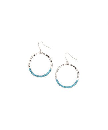 Another great find on #zulily! Turquoise & Silvertone Hammered Drop Earring by ZAD #zulilyfinds