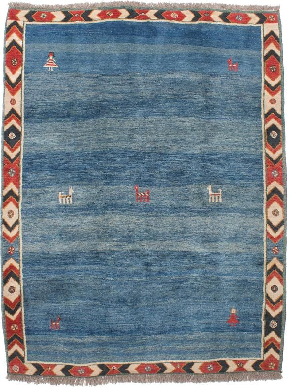 Hand Knotted Persian Gabbeh Blue Wool Rug Blue Wool Rugs Gabbeh Rugs
