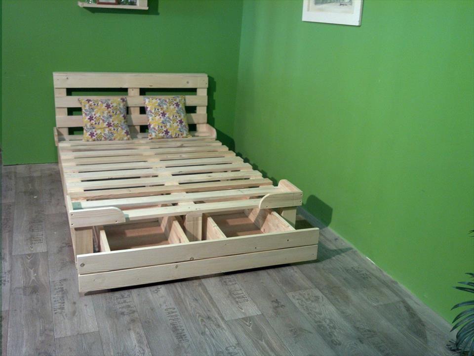 Pallet Platform Bed with Storage | Pallet platform bed ...
