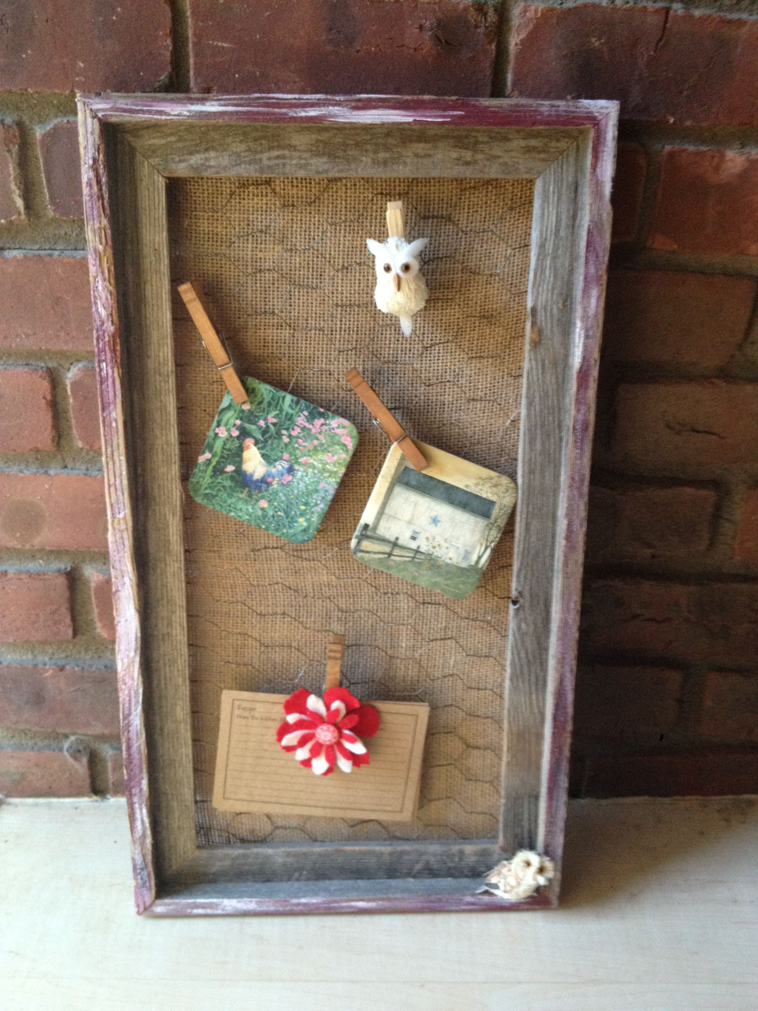 Barn Wood Frame With Chicken Wire Barn Wood Frames