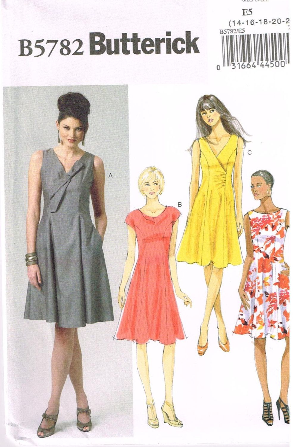 Butterick B5782, Sewing Pattern, Misses\' Dresses\