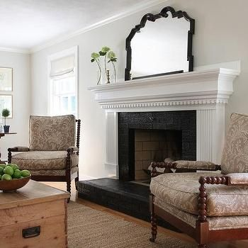 White fireplace mantle with black brick surround and hearth cottage living room decorating - Black and white fireplace ...