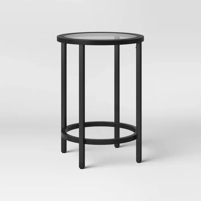 Greenwich Round Glass End Table Threshold Glass Top End