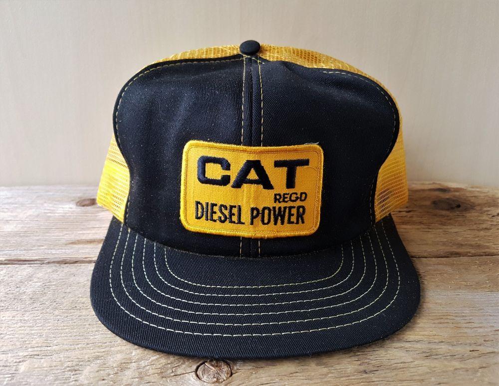Vintage 80s CAT DIESEL POWER Gold Mesh Trucker Hat Snapback Victory Caps  Canada  BaseballCap f7b2d5160cb0
