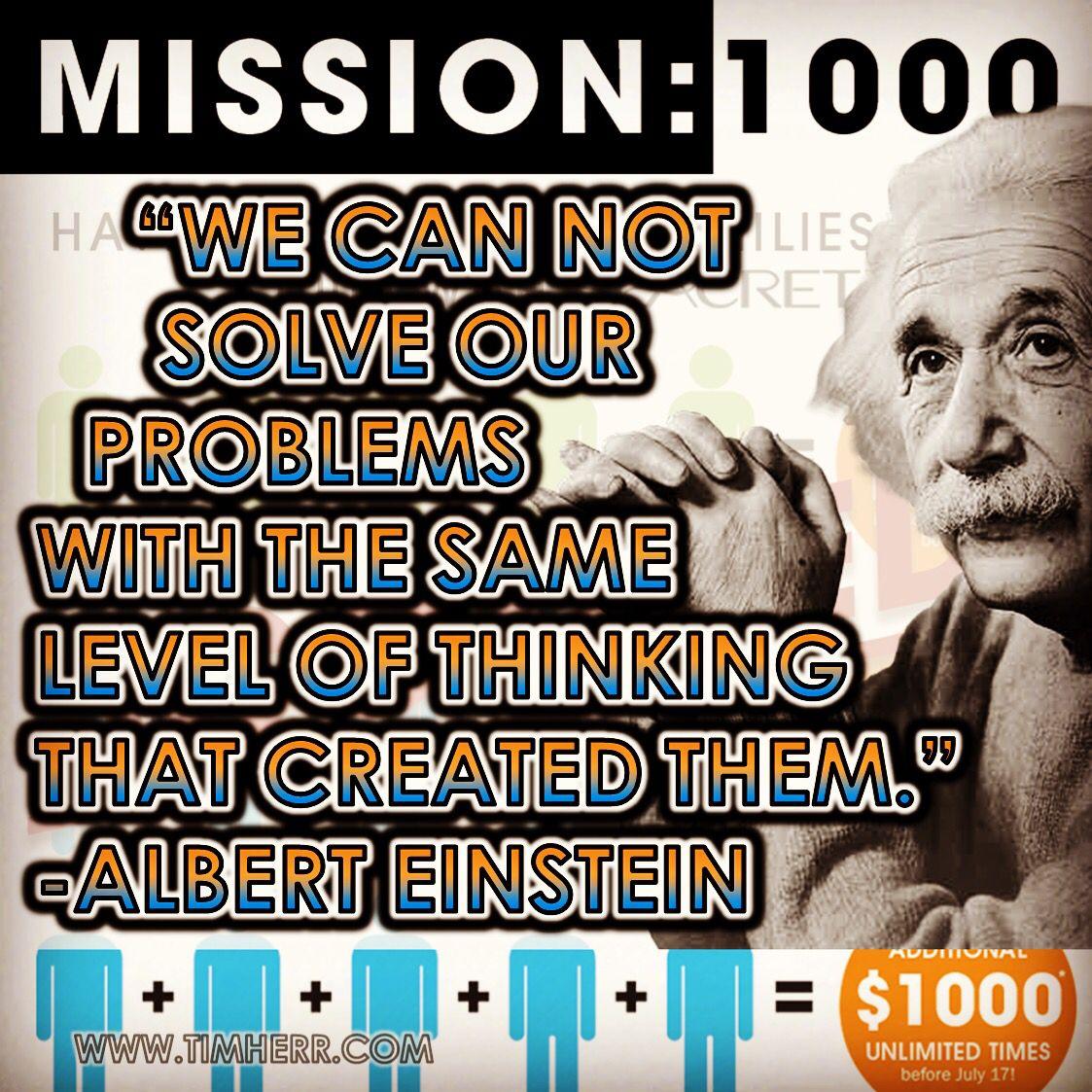 """We can not solve our problems with the same level of thinking that created them."" -Albert Einstein (Wurttemberg Physicist 1879-1955) #quoteoftheday #AlbertEinstein #Einstein"