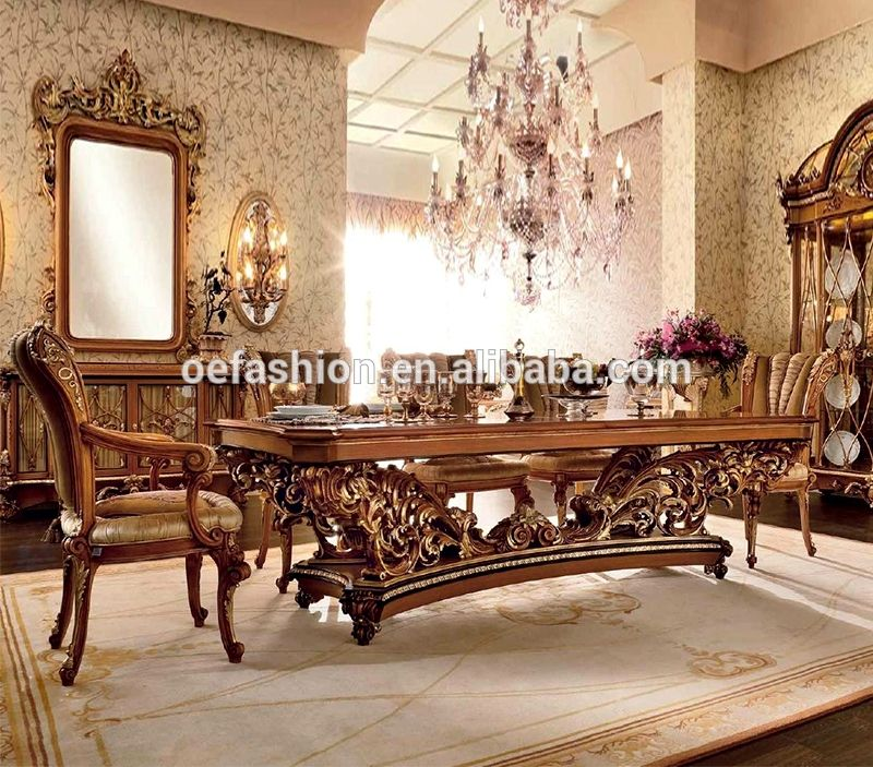 OE-FASHION Luxury Style Royal Wood Dining Table And Chair