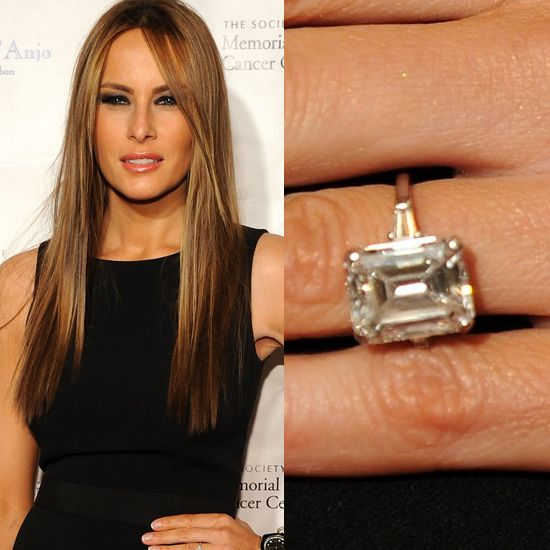 Melania Trump S Dazzling Sparkler Melania Trump Engagement Ring Celebrity Wedding Rings Celebrity Engagement Rings